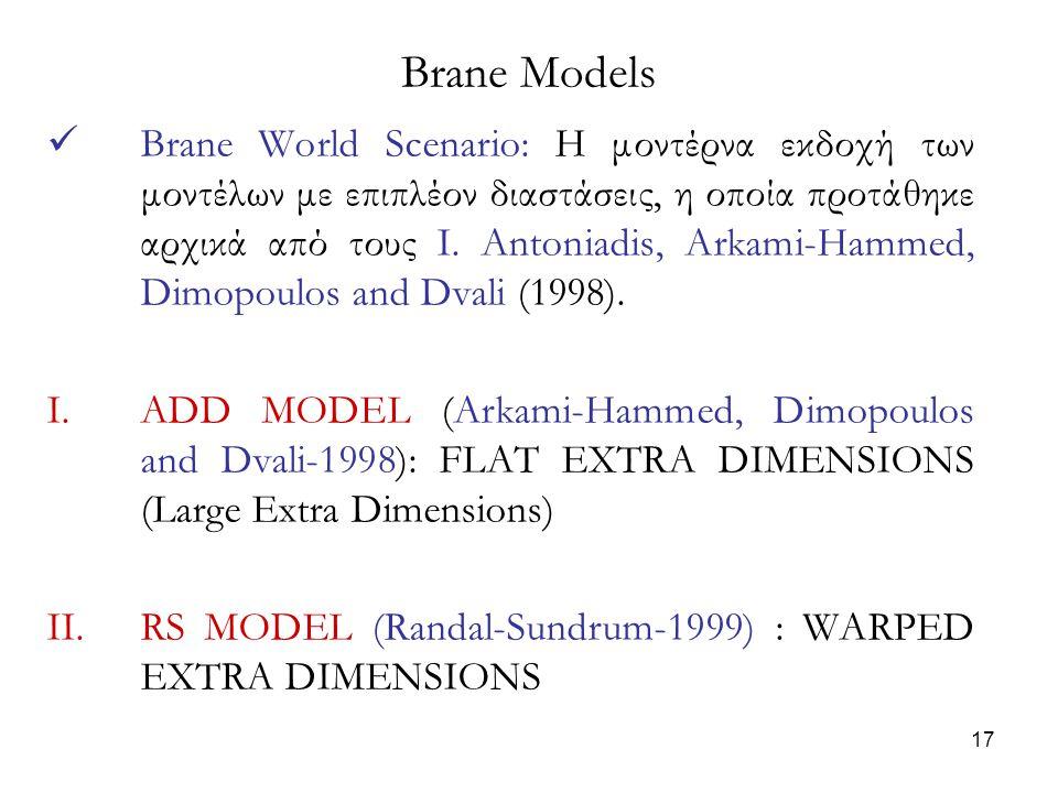 17 Brane World Scenario: H μοντέρνα εκδοχή των μοντέλων με επιπλέον διαστάσεις, η οποία προτάθηκε αρχικά από τους I. Antoniadis, Arkami-Hammed, Dimopo