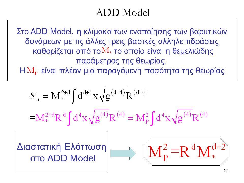 21 ADD Model Διαστατική Ελάττωση στο ADD Model Στο ADD Model, η κλίμακα των ενοποίησης των βαρυτικών δυνάμεων με τις άλλες τρεις βασικές αλληλεπιδράσε