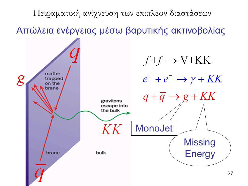 27 Απώλεια ενέργειας μέσω βαρυτικής ακτινοβολίας Πειραματική ανίχνευση των επιπλέον διαστάσεων MonoJet Missing Energy