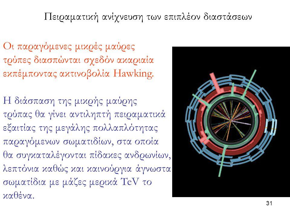 31 Πειραματική ανίχνευση των επιπλέον διαστάσεων Οι παραγόμενες μικρές μαύρες τρύπες διασπώνται σχεδόν ακαριαία εκπέμποντας ακτινοβολία Hawking. Η διά