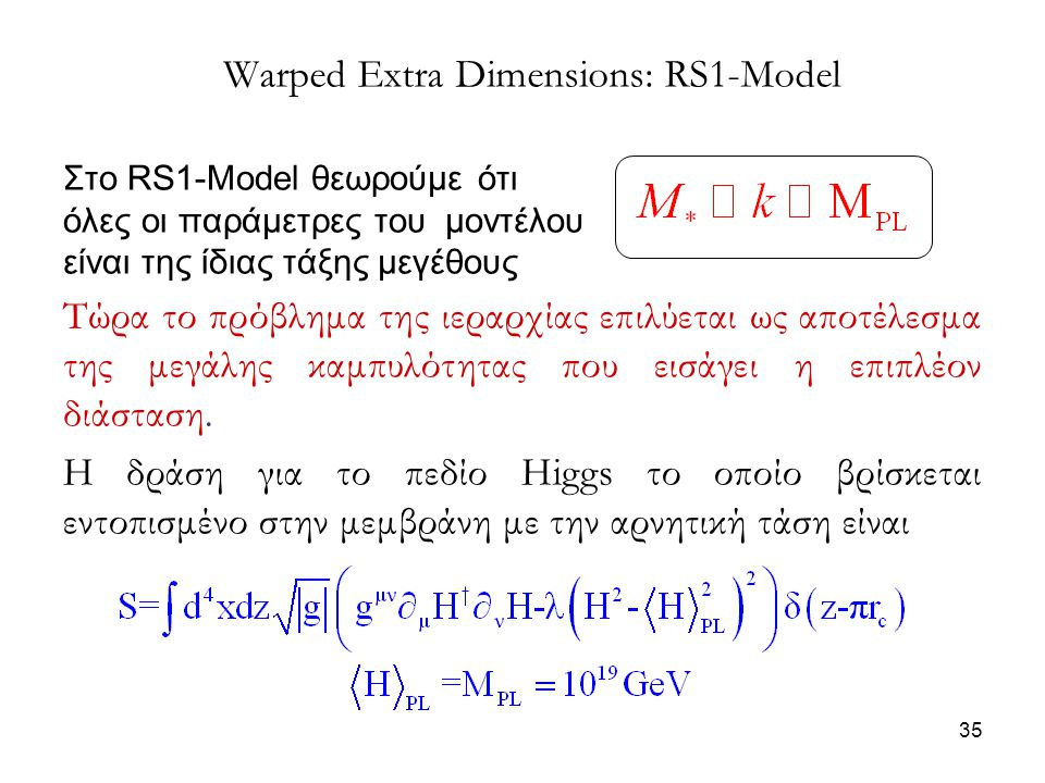 35 Warped Extra Dimensions: RS1-Model Στο RS1-Model θεωρούμε ότι όλες οι παράμετρες του μοντέλου είναι της ίδιας τάξης μεγέθους Τώρα το πρόβλημα της ι