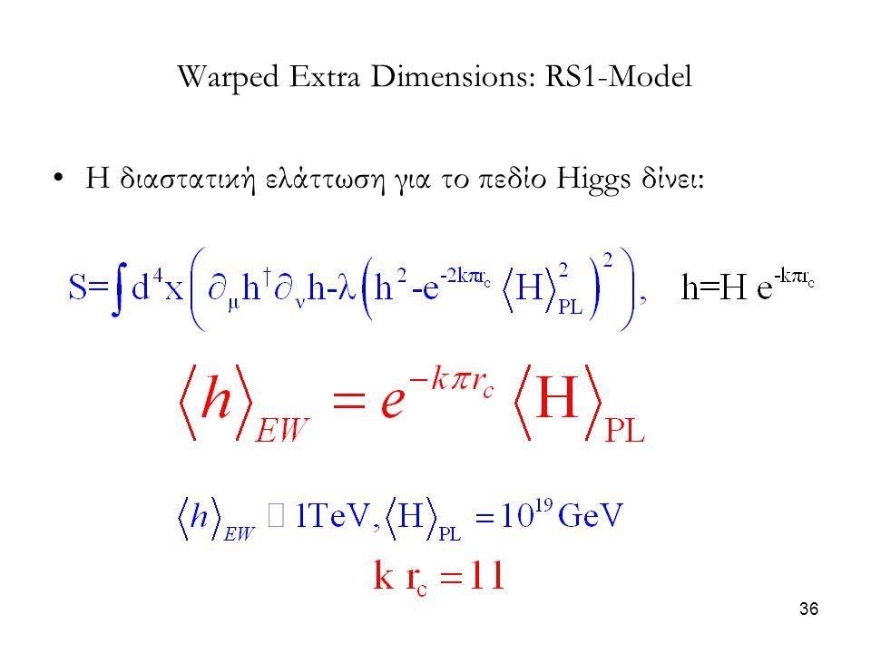 36 Warped Extra Dimensions: RS1-Model Η διαστατική ελάττωση για το πεδίο Higgs δίνει: