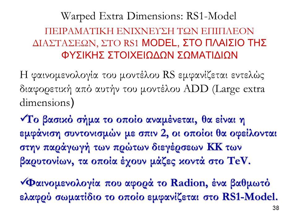 38 Warped Extra Dimensions: RS1-Model ΠΕΙΡΑΜΑΤΙΚΗ ΕΝΙΧΝΕΥΣΗ ΤΩΝ ΕΠΙΠΛΕΟΝ ΔΙΑΣΤΑΣΕΩΝ, ΣΤΟ RS1 MODEL, ΣΤΟ ΠΛΑΙΣΙΟ ΤΗΣ ΦΥΣΙΚΗΣ ΣΤΟΙΧΕΙΩΔΩΝ ΣΩΜΑΤΙΔΙΩΝ Η φ