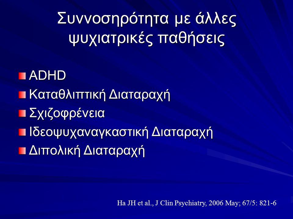 Συννοσηρότητα με άλλες ψυχιατρικές παθήσεις ADHD Καταθλιπτική Διαταραχή Σχιζοφρένεια Ιδεοψυχαναγκαστική Διαταραχή Διπολική Διαταραχή Ha JH et al., J C
