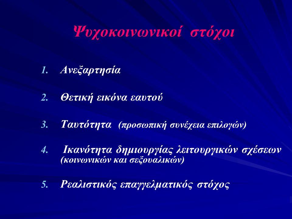Ψυχοκοινωνικοί στόχοι 1. 1. Ανεξαρτησία 2. 2. Θετική εικόνα εαυτού 3. 3. Ταυτότητα (προσωπική συνέχεια επιλογών) 4. 4. Ικανότητα δημιουργίας λειτουργι