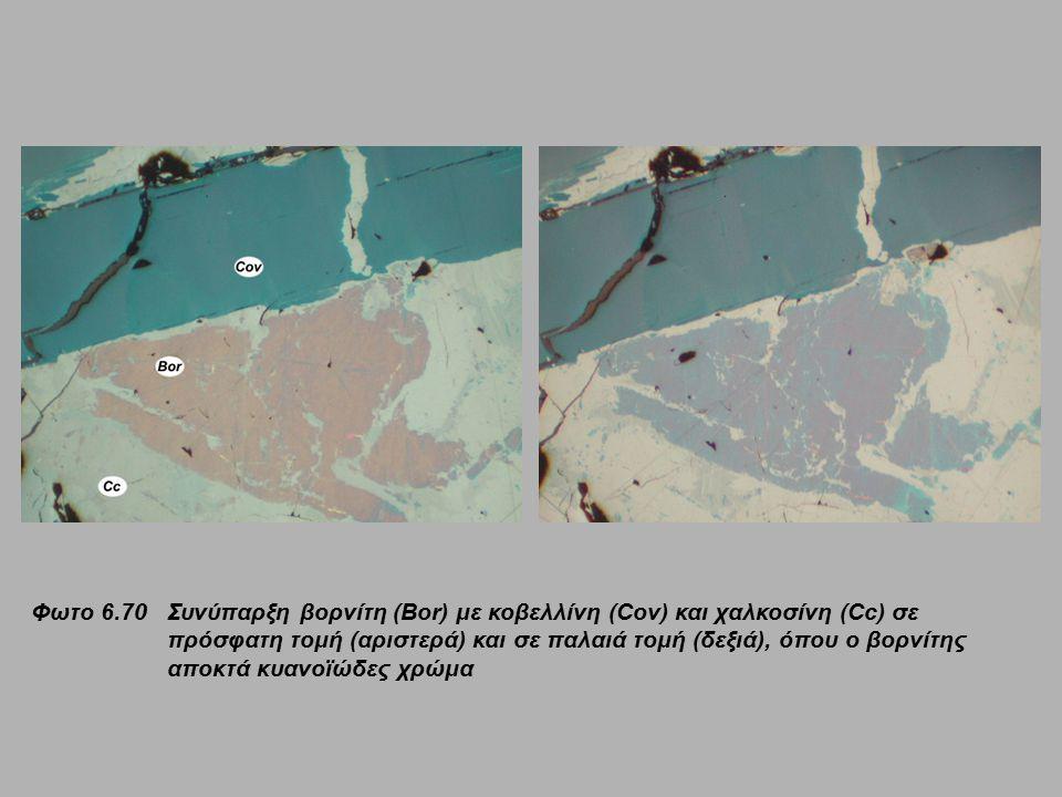 Φωτο 6.70 Συνύπαρξη βορνίτη (Bor) με κοβελλίνη (Cov) και χαλκοσίνη (Cc) σε πρόσφατη τομή (αριστερά) και σε παλαιά τομή (δεξιά), όπου ο βορνίτης αποκτά