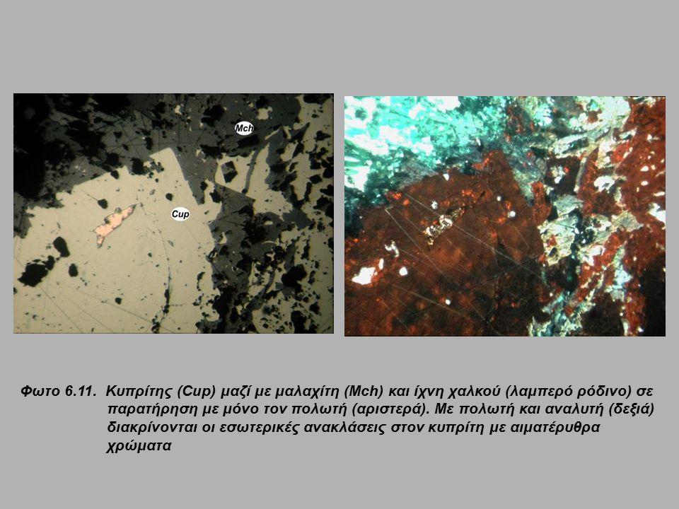 Φωτο 6.11. Κυπρίτης (Cup) μαζί με μαλαχίτη (Mch) και ίχνη χαλκού (λαμπερό ρόδινο) σε παρατήρηση με μόνο τον πολωτή (αριστερά). Με πολωτή και αναλυτή (