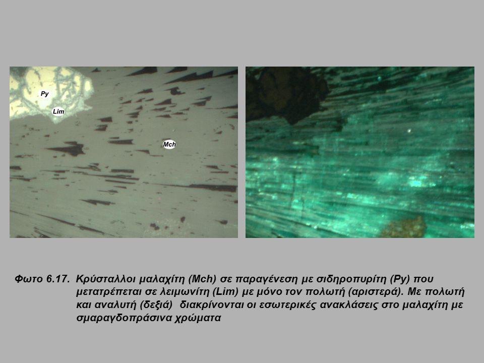 Φωτο 6.17. Κρύσταλλοι μαλαχίτη (Mch) σε παραγένεση με σιδηροπυρίτη (Py) που μετατρέπεται σε λειμωνίτη (Lim) με μόνο τον πολωτή (αριστερά). Με πολωτή κ