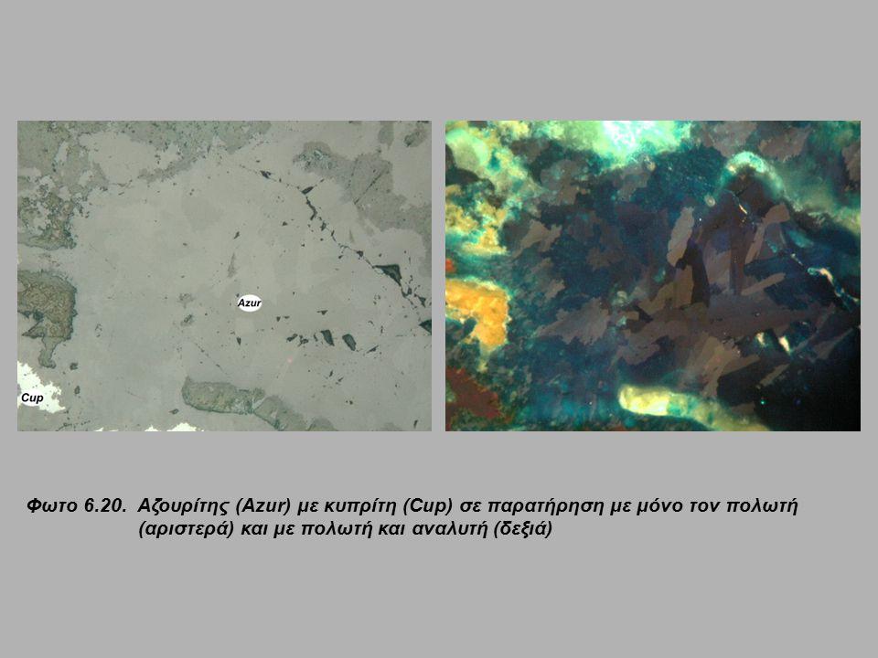 Φωτο 6.20. Αζουρίτης (Azur) με κυπρίτη (Cup) σε παρατήρηση με μόνο τον πολωτή (αριστερά) και με πολωτή και αναλυτή (δεξιά)