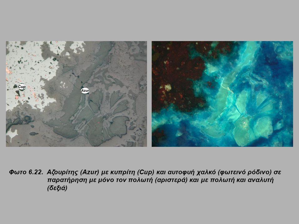 Φωτο 6.22. Αζουρίτης (Azur) με κυπρίτη (Cup) και αυτοφυή χαλκό (φωτεινό ρόδινο) σε παρατήρηση με μόνο τον πολωτή (αριστερά) και με πολωτή και αναλυτή