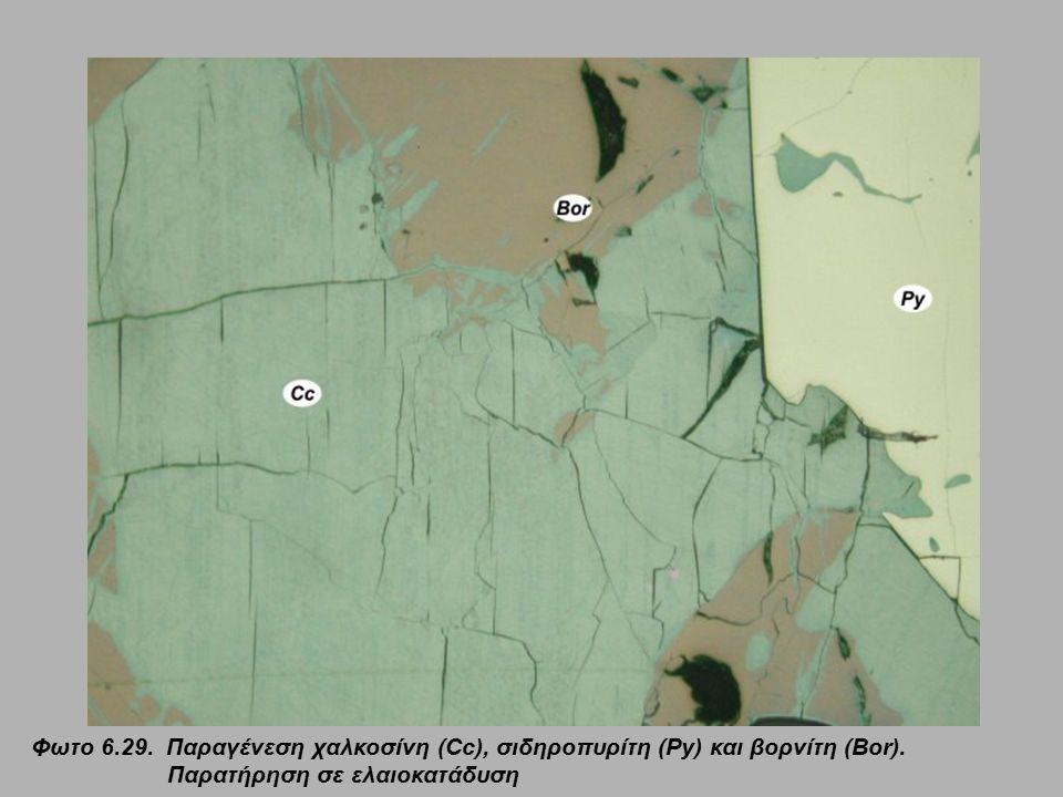 Φωτο 6.29. Παραγένεση χαλκοσίνη (Cc), σιδηροπυρίτη (Py) και βορνίτη (Bor). Παρατήρηση σε ελαιοκατάδυση