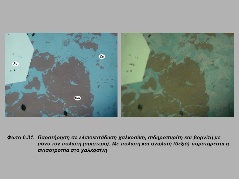 Φωτο 6.31. Παρατήρηση σε ελαιοκατάδυση χαλκοσίνη, σιδηροπυρίτη και βορνίτη με μόνο τον πολωτή (αριστερά). Με πολωτή και αναλυτή (δεξιά) παρατηρείται η