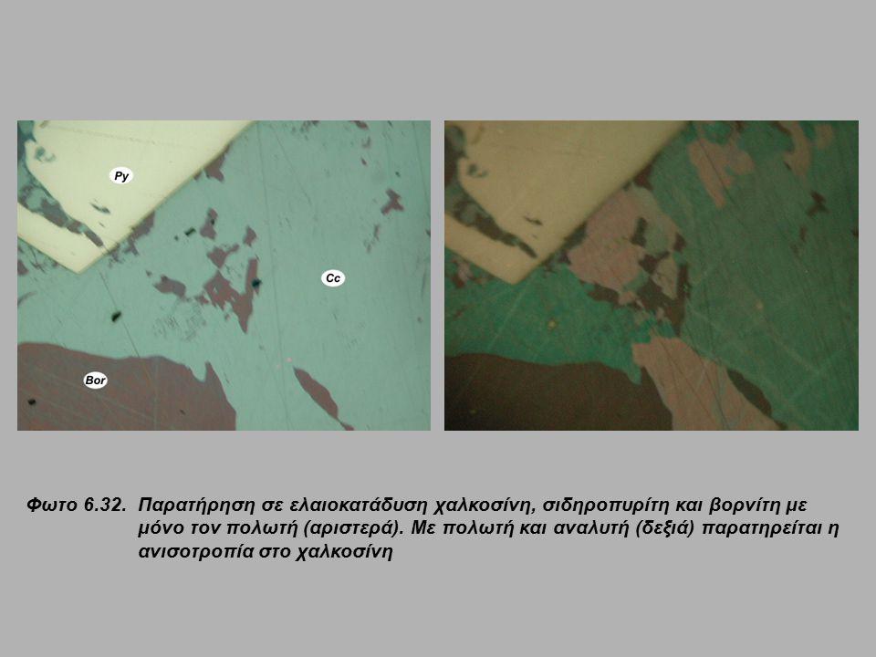 Φωτο 6.32. Παρατήρηση σε ελαιοκατάδυση χαλκοσίνη, σιδηροπυρίτη και βορνίτη με μόνο τον πολωτή (αριστερά). Με πολωτή και αναλυτή (δεξιά) παρατηρείται η
