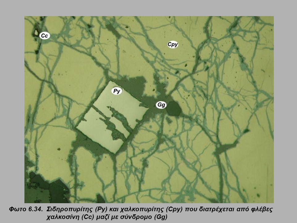 Φωτο 6.34. Σιδηροπυρίτης (Py) και χαλκοπυρίτης (Cpy) που διατρέχεται από φλέβες χαλκοσίνη (Cc) μαζί με σύνδρομο (Gg)