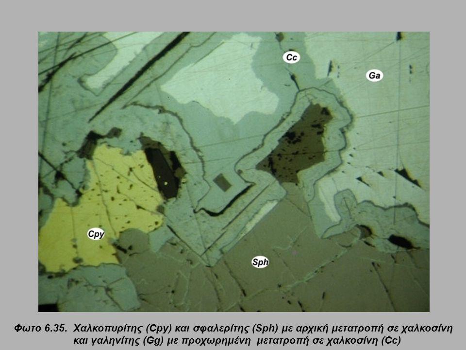 Φωτο 6.35. Χαλκοπυρίτης (Cpy) και σφαλερίτης (Sph) με αρχική μετατροπή σε χαλκοσίνη και γαληνίτης (Gg) με προχωρημένη μετατροπή σε χαλκοσίνη (Cc)