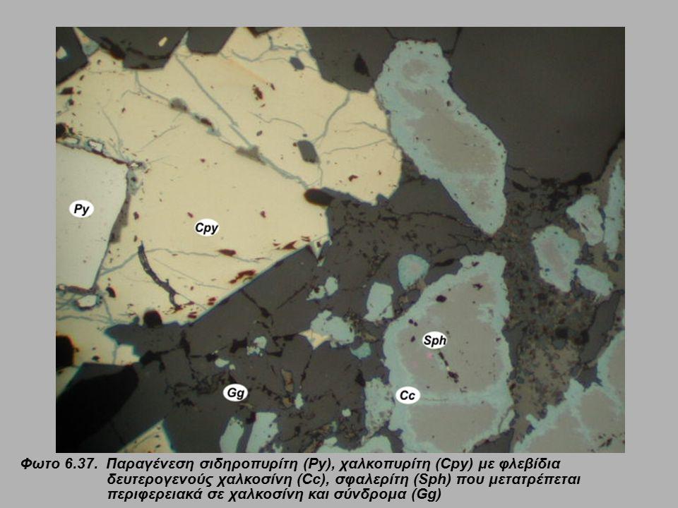 Φωτο 6.37. Παραγένεση σιδηροπυρίτη (Py), χαλκοπυρίτη (Cpy) με φλεβίδια δευτερογενούς χαλκοσίνη (Cc), σφαλερίτη (Sph) που μετατρέπεται περιφερειακά σε