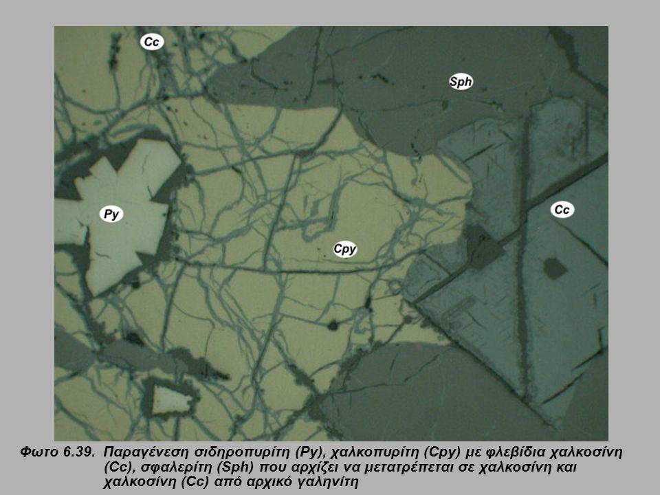Φωτο 6.39. Παραγένεση σιδηροπυρίτη (Py), χαλκοπυρίτη (Cpy) με φλεβίδια χαλκοσίνη (Cc), σφαλερίτη (Sph) που αρχίζει να μετατρέπεται σε χαλκοσίνη και χα