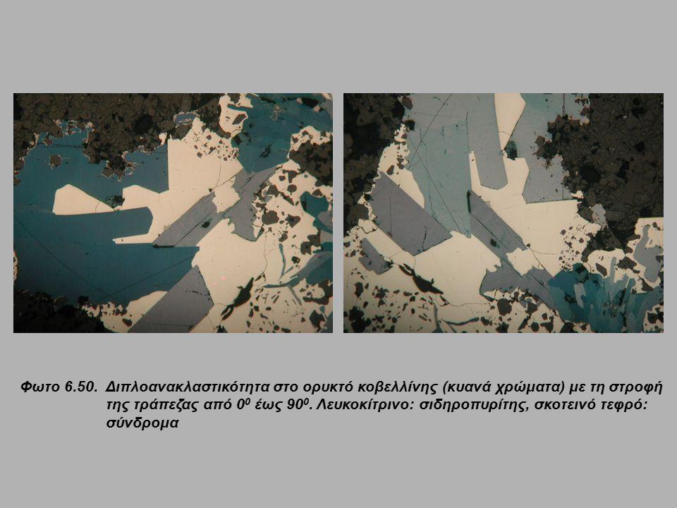 Φωτο 6.50. Διπλοανακλαστικότητα στο ορυκτό κοβελλίνης (κυανά χρώματα) με τη στροφή της τράπεζας από 0 0 έως 90 0. Λευκοκίτρινο: σιδηροπυρίτης, σκοτειν