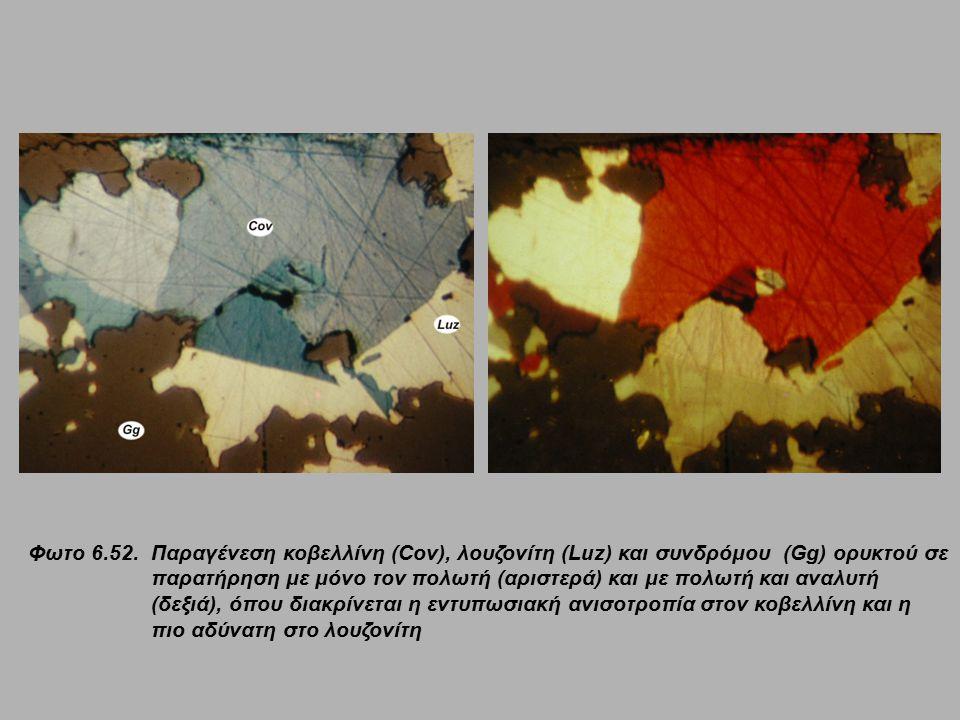 Φωτο 6.52. Παραγένεση κοβελλίνη (Cov), λουζονίτη (Luz) και συνδρόμου (Gg) ορυκτού σε παρατήρηση με μόνο τον πολωτή (αριστερά) και με πολωτή και αναλυτ