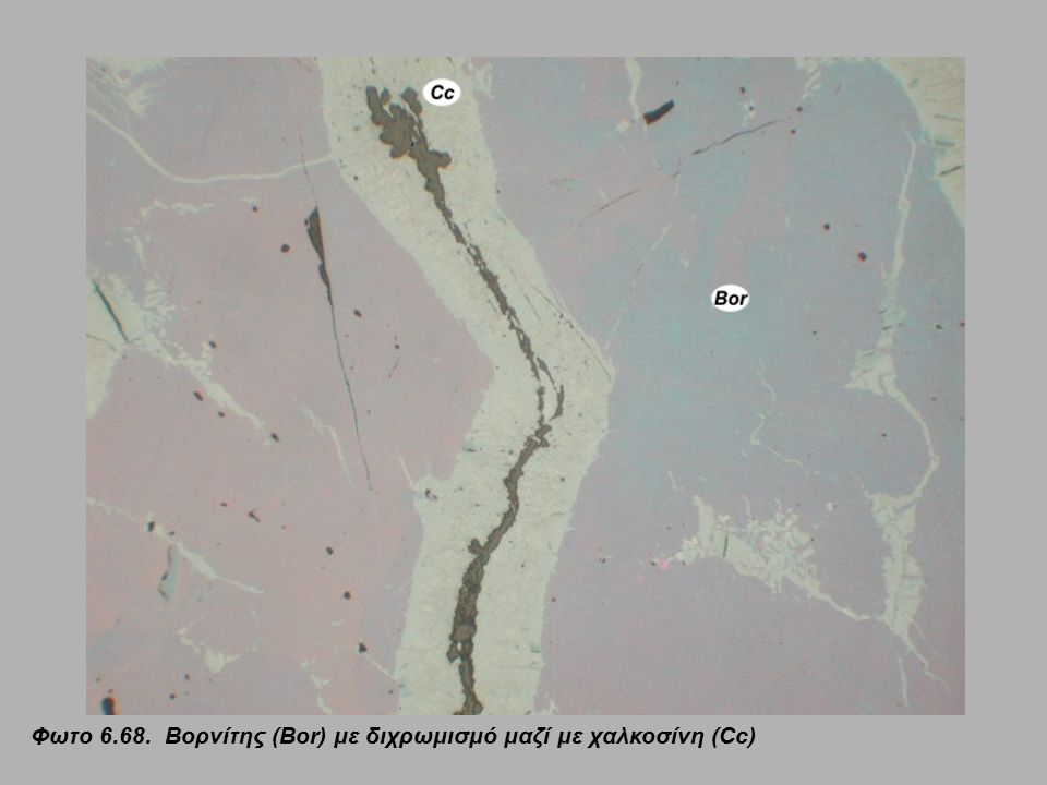 Φωτο 6.68. Βορνίτης (Bor) με διχρωμισμό μαζί με χαλκοσίνη (Cc)