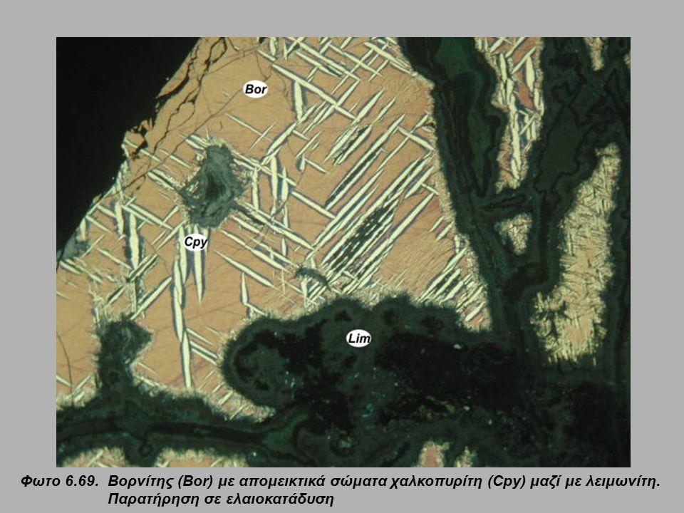 Φωτο 6.69. Βορνίτης (Bor) με απομεικτικά σώματα χαλκοπυρίτη (Cpy) μαζί με λειμωνίτη. Παρατήρηση σε ελαιοκατάδυση