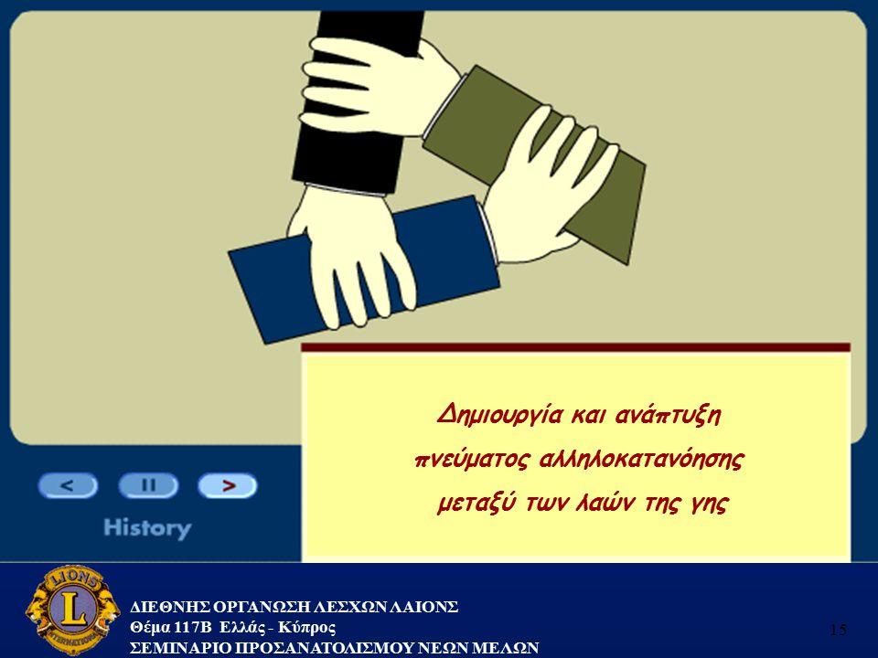 ΔΙΕΘΝΗΣ ΟΡΓΑΝΩΣΗ ΛΕΣΧΩΝ ΛΑΙΟΝΣ Θέμα 117B Ελλάς - Κύπρος ΣΕΜΙΝΑΡΙΟ ΠΡΟΣΑΝΑΤΟΛΙΣΜΟΥ ΝΕΩΝ ΜΕΛΩΝ 15 Δημιουργία και ανάπτυξη πνεύματος αλληλοκατανόησης μετ