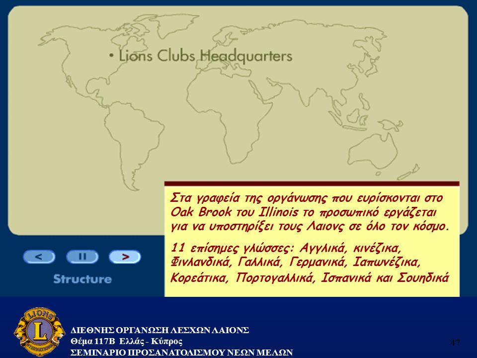 ΔΙΕΘΝΗΣ ΟΡΓΑΝΩΣΗ ΛΕΣΧΩΝ ΛΑΙΟΝΣ Θέμα 117B Ελλάς - Κύπρος ΣΕΜΙΝΑΡΙΟ ΠΡΟΣΑΝΑΤΟΛΙΣΜΟΥ ΝΕΩΝ ΜΕΛΩΝ 47 Στα γραφεία της οργάνωσης που ευρίσκονται στο Oak Broo