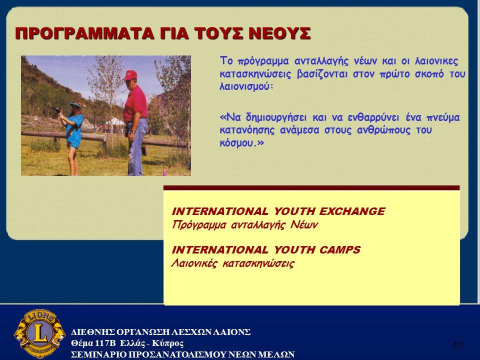 ΔΙΕΘΝΗΣ ΟΡΓΑΝΩΣΗ ΛΕΣΧΩΝ ΛΑΙΟΝΣ Θέμα 117B Ελλάς - Κύπρος ΣΕΜΙΝΑΡΙΟ ΠΡΟΣΑΝΑΤΟΛΙΣΜΟΥ ΝΕΩΝ ΜΕΛΩΝ 60 Το πρόγραμμα ανταλλαγής νέων και οι λαιονικες κατασκην