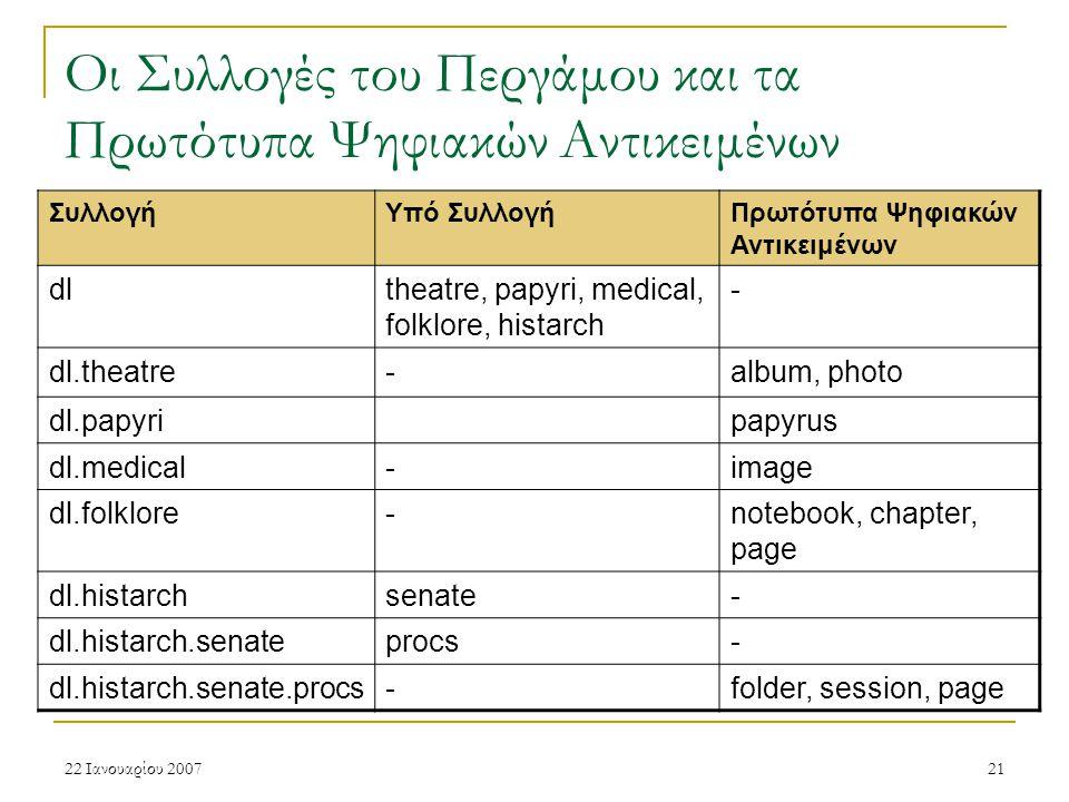 22 Ιανουαρίου 200721 Οι Συλλογές του Περγάμου και τα Πρωτότυπα Ψηφιακών Αντικειμένων ΣυλλογήΥπό ΣυλλογήΠρωτότυπα Ψηφιακών Αντικειμένων dltheatre, papyri, medical, folklore, histarch - dl.theatre-album, photo dl.papyripapyrus dl.medical-image dl.folklore-notebook, chapter, page dl.histarchsenate- dl.histarch.senateprocs- dl.histarch.senate.procs-folder, session, page