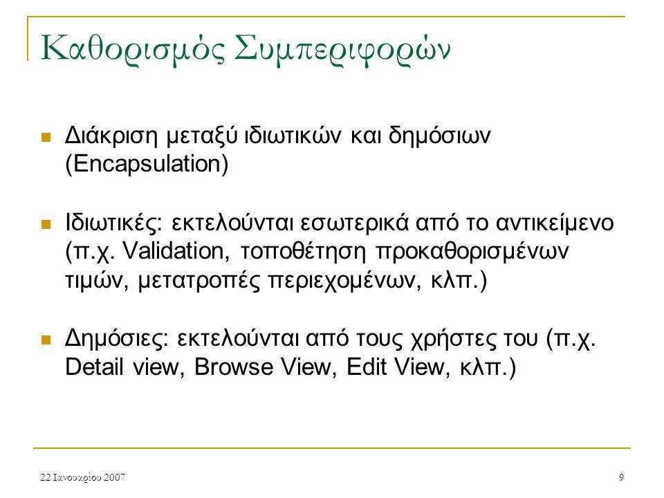 22 Ιανουαρίου 200720 Πρωτότυπα Ψηφιακών Αντικειμένων & Συλλογές Τα Πρωτότυπα Ψηφιακών Αντικειμένων «υπάρχουν» στα πλαίσια/ στο περιεχόμενο μιας συλλογής (σχετικό πεδίο της συλλογής) Οι συλλογές μπορεί να περιέχουν άλλες συλλογές (ιεραρχική δομή, π.χ.