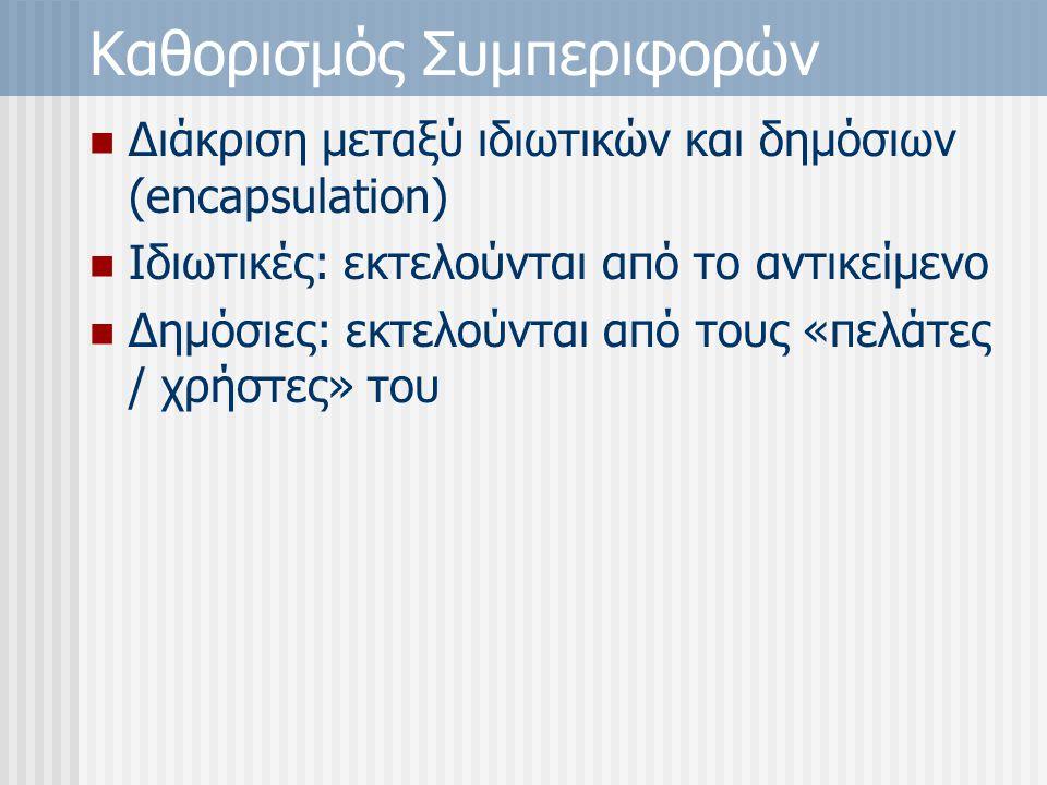 Καθορισμός Συμπεριφορών Διάκριση μεταξύ ιδιωτικών και δημόσιων (encapsulation) Ιδιωτικές: εκτελούνται από το αντικείμενο Δημόσιες: εκτελούνται από τους «πελάτες / χρήστες» του