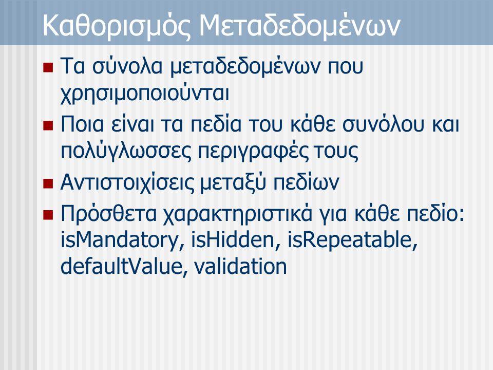 Καθορισμός Μεταδεδομένων Τα σύνολα μεταδεδομένων που χρησιμοποιούνται Ποια είναι τα πεδία του κάθε συνόλου και πολύγλωσσες περιγραφές τους Αντιστοιχίσεις μεταξύ πεδίων Πρόσθετα χαρακτηριστικά για κάθε πεδίο: isMandatory, isHidden, isRepeatable, defaultValue, validation