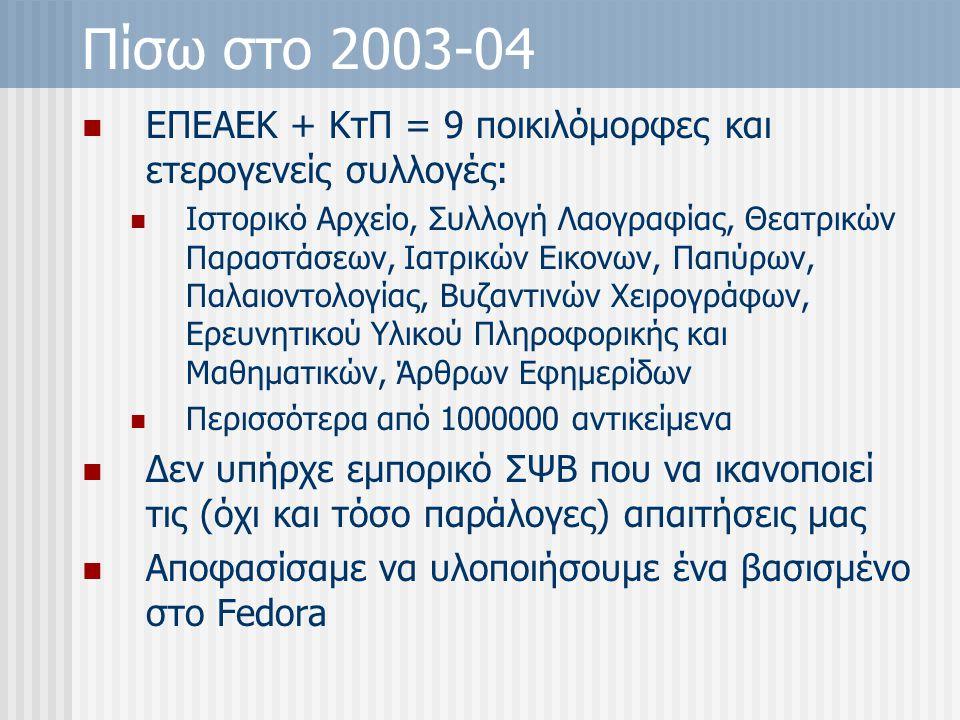 Πίσω στο 2003-04 ΕΠΕΑΕΚ + ΚτΠ = 9 ποικιλόμορφες και ετερογενείς συλλογές: Ιστορικό Αρχείο, Συλλογή Λαογραφίας, Θεατρικών Παραστάσεων, Ιατρικών Εικονων, Παπύρων, Παλαιοντολογίας, Βυζαντινών Χειρογράφων, Ερευνητικού Υλικού Πληροφορικής και Μαθηματικών, Άρθρων Εφημερίδων Περισσότερα από 1000000 αντικείμενα Δεν υπήρχε εμπορικό ΣΨΒ που να ικανοποιεί τις (όχι και τόσο παράλογες) απαιτήσεις μας Αποφασίσαμε να υλοποιήσουμε ένα βασισμένο στο Fedora