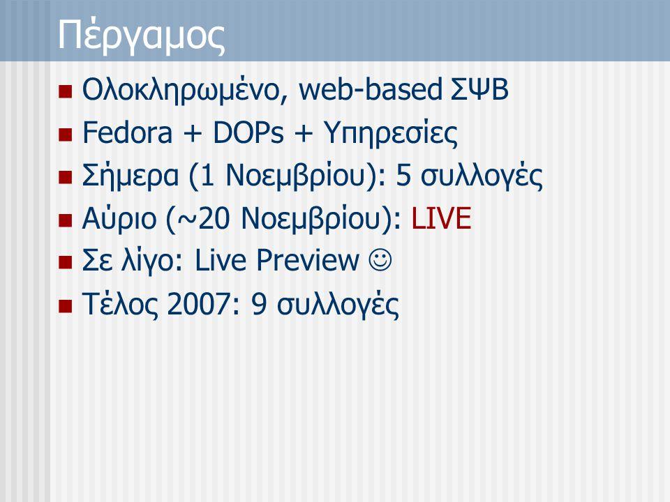Πέργαμος Ολοκληρωμένο, web-based ΣΨΒ Fedora + DOPs + Υπηρεσίες Σήμερα (1 Νοεμβρίου): 5 συλλογές Αύριο (~20 Νοεμβρίου): LIVE Σε λίγο: Live Preview Τέλος 2007: 9 συλλογές