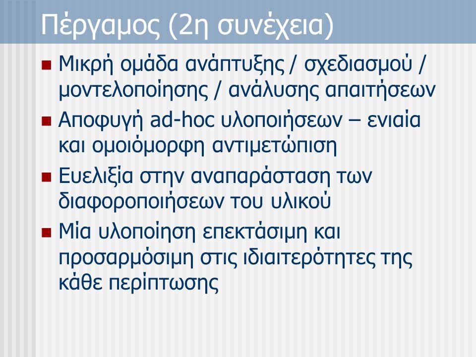 Πέργαμος (2η συνέχεια) Μικρή ομάδα ανάπτυξης / σχεδιασμού / μοντελοποίησης / ανάλυσης απαιτήσεων Αποφυγή ad-hoc υλοποιήσεων – ενιαία και ομοιόμορφη αντιμετώπιση Ευελιξία στην αναπαράσταση των διαφοροποιήσεων του υλικού Μία υλοποίηση επεκτάσιμη και προσαρμόσιμη στις ιδιαιτερότητες της κάθε περίπτωσης