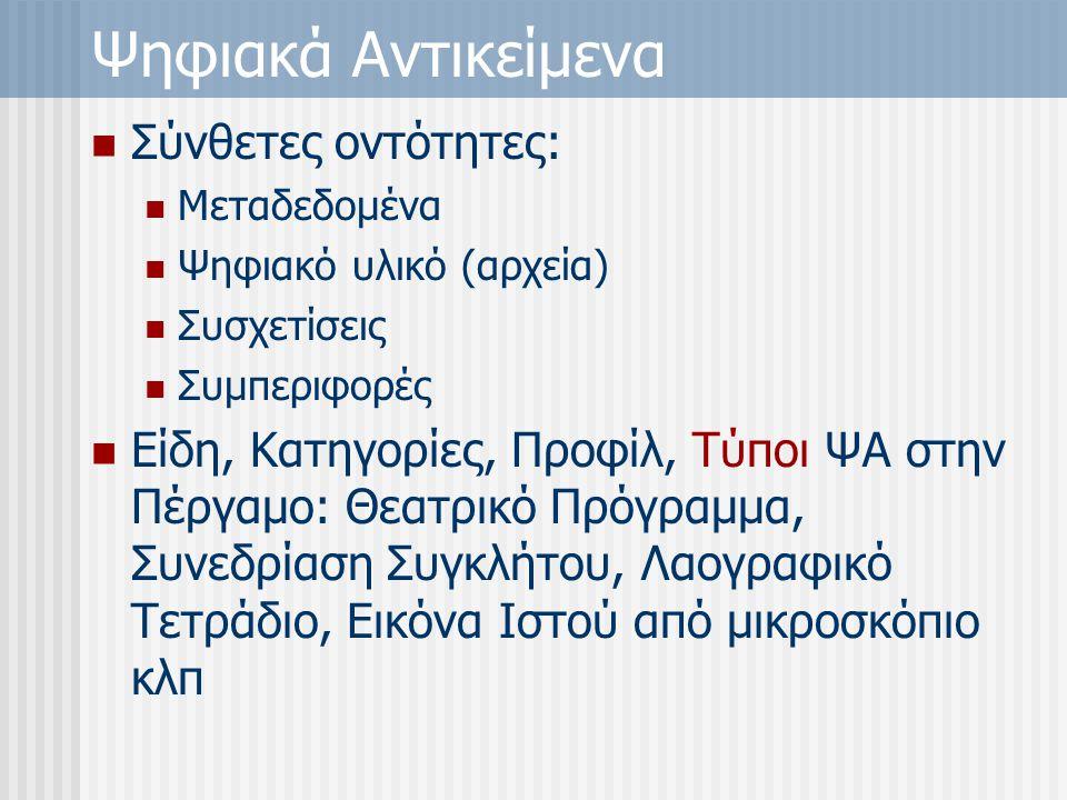 Ψηφιακά Αντικείμενα Σύνθετες οντότητες: Μεταδεδομένα Ψηφιακό υλικό (αρχεία) Συσχετίσεις Συμπεριφορές Είδη, Κατηγορίες, Προφίλ, Τύποι ΨΑ στην Πέργαμο: Θεατρικό Πρόγραμμα, Συνεδρίαση Συγκλήτου, Λαογραφικό Τετράδιο, Εικόνα Ιστού από μικροσκόπιο κλπ