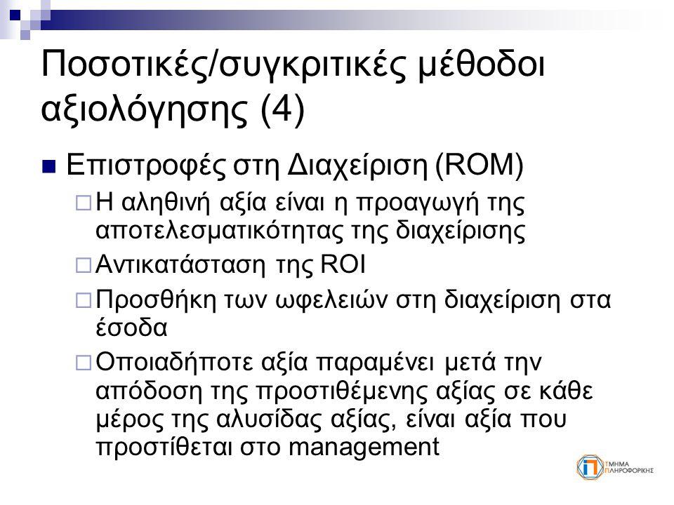 Ποσοτικές/συγκριτικές μέθοδοι αξιολόγησης (4) Επιστροφές στη Διαχείριση (ROM)  Η αληθινή αξία είναι η προαγωγή της αποτελεσματικότητας της διαχείρισης  Αντικατάσταση της ROI  Προσθήκη των ωφελειών στη διαχείριση στα έσοδα  Οποιαδήποτε αξία παραμένει μετά την απόδοση της προστιθέμενης αξίας σε κάθε μέρος της αλυσίδας αξίας, είναι αξία που προστίθεται στο management