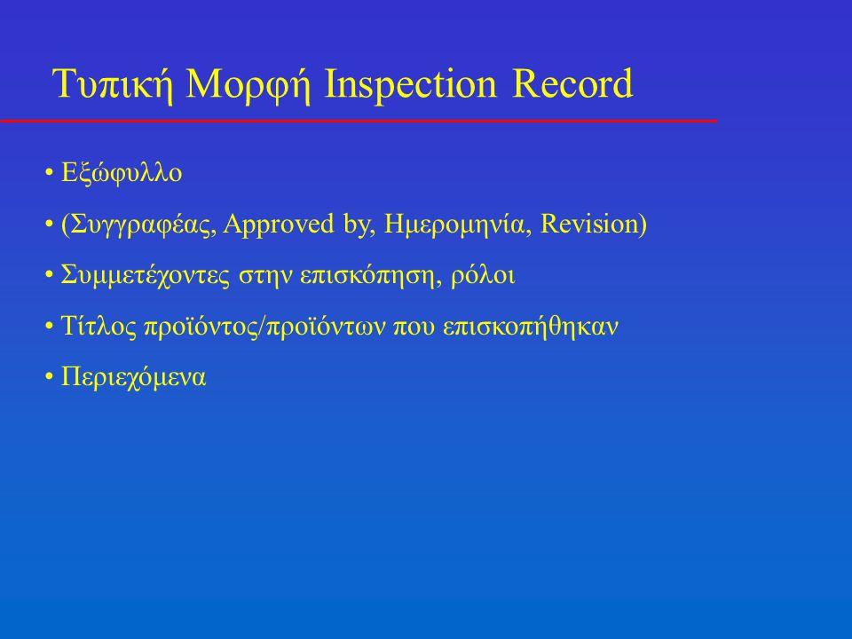 Τυπική Μορφή Inspection Record Εξώφυλλο (Συγγραφέας, Approved by, Ημερομηνία, Revision) Συμμετέχοντες στην επισκόπηση, ρόλοι Τίτλος προϊόντος/προϊόντων που επισκοπήθηκαν Περιεχόμενα