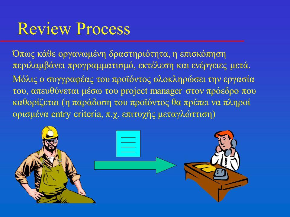 Review Process Όπως κάθε οργανωμένη δραστηριότητα, η επισκόπηση περιλαμβάνει προγραμματισμό, εκτέλεση και ενέργειες μετά. Μόλις ο συγγραφέας του προϊό