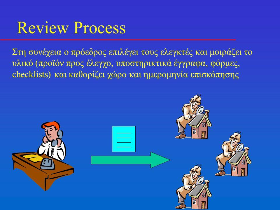 Review Process Στη συνέχεια ο πρόεδρος επιλέγει τους ελεγκτές και μοιράζει το υλικό (προϊόν προς έλεγχο, υποστηρικτικά έγγραφα, φόρμες, checklists) και καθορίζει χώρο και ημερομηνία επισκόπησης