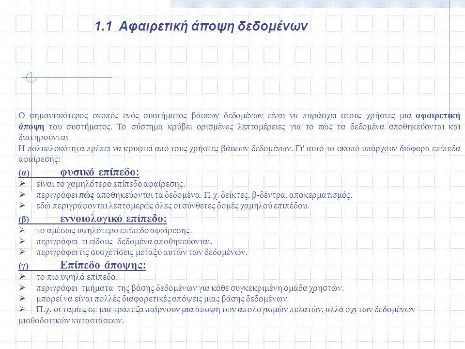 παραδείγματα εντολών SQL στα τρία επίπεδα Εξωτερικό επίπεδο CREATE VIEW ATHENS_SUPPLIERS AS SELECT S_No, S_Name, S_City FROM SUPPLIERS WHERE S_City= ATHENS CREATE VIEW ALL_SUPPLIERS AS SELECT * FROM SUPPLIERS Εννοιολογικό επίπεδο CREATE TABLE SUPPLIERS ( S_No NUMBER(4) NOT NULL, S_Name CHAR(25), S_City CHAR(20) ); Εσωτερικό επίπεδο CREATE INDEX Supplier_Name ON SUPPLIERS(S_Name); CREATE UNIQUE INDEX Supplier_No ON SUPPLIERS(S_No);