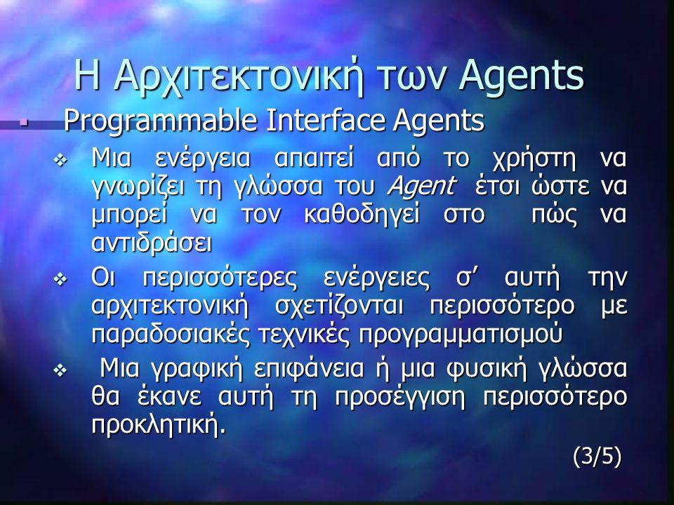 Η Αρχιτεκτονική των Agents  Programmable Interface Agents  Μια ενέργεια απαιτεί από το χρήστη να γνωρίζει τη γλώσσα του Agent έτσι ώστε να μπορεί να τον καθοδηγεί στο πώς να αντιδράσει  Οι περισσότερες ενέργειες σ' αυτή την αρχιτεκτονική σχετίζονται περισσότερο με παραδοσιακές τεχνικές προγραμματισμού  Μια γραφική επιφάνεια ή μια φυσική γλώσσα θα έκανε αυτή τη προσέγγιση περισσότερο προκλητική.