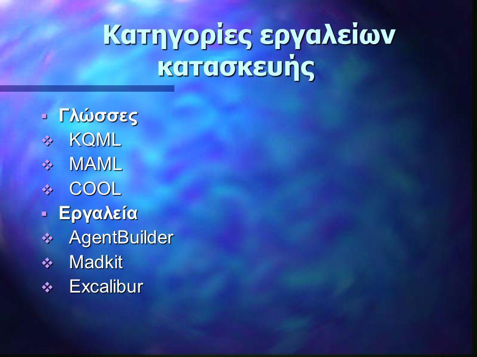 Κατηγορίες εργαλείων κατασκευής Κατηγορίες εργαλείων κατασκευής  Γλώσσες  KQML  MAML  COOL  Εργαλεία  AgentBuilder  Madkit  Excalibur