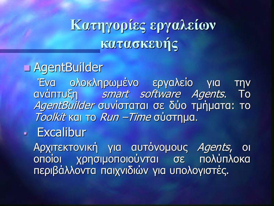 AgentBuilder AgentBuilder Ένα ολοκληρωμένο εργαλείο για την ανάπτυξη smart software Agents.