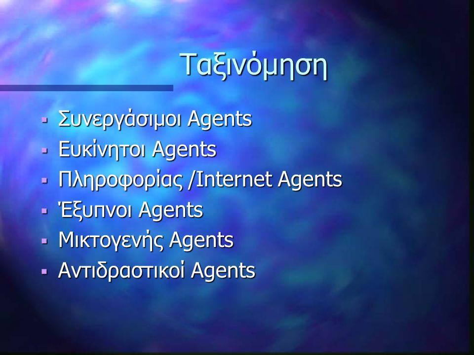Ταξινόμηση Ταξινόμηση  Συνεργάσιμοι Agents  Ευκίνητοι Agents  Πληροφορίας /Internet Agents  Έξυπνοι Agents  Μικτογενής Agents  Αντιδραστικοί Agents
