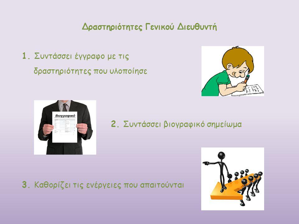 Δραστηριότητες Γενικού Διευθυντή 1. Συντάσσει έγγραφο με τις δραστηριότητες που υλοποίησε 2. Συντάσσει βιογραφικό σημείωμα 3. Καθορίζει τις ενέργειες