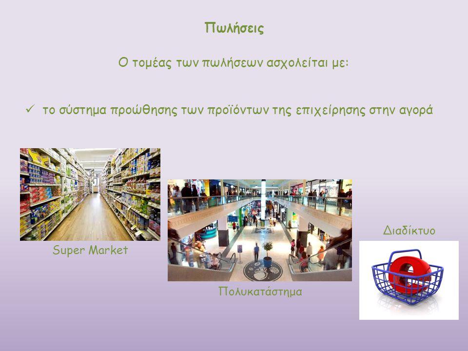 Ο τομέας των πωλήσεων ασχολείται με: Πωλήσεις το σύστημα προώθησης των προϊόντων της επιχείρησης στην αγορά Πολυκατάστημα Διαδίκτυο Super Market