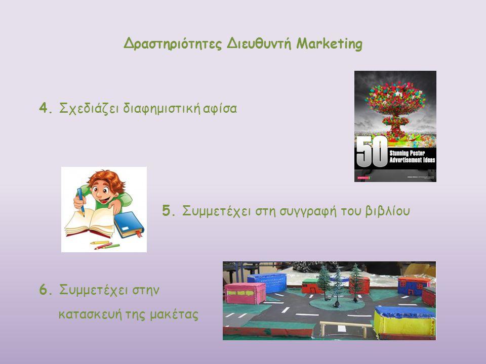 Δραστηριότητες Διευθυντή Marketing 4. Σχεδιάζει διαφημιστική αφίσα 6. Συμμετέχει στην κατασκευή της μακέτας 5. Συμμετέχει στη συγγραφή του βιβλίου