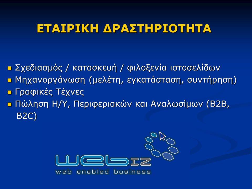Σχεδιασμός / κατασκευή / φιλοξενία ιστοσελίδων Σχεδιασμός / κατασκευή / φιλοξενία ιστοσελίδων Μηχανοργάνωση (μελέτη, εγκατάσταση, συντήρηση) Μηχανοργάνωση (μελέτη, εγκατάσταση, συντήρηση) Γραφικές Τέχνες Γραφικές Τέχνες Πώληση Η/Υ, Περιφεριακών και Αναλωσίμων (B2B, Πώληση Η/Υ, Περιφεριακών και Αναλωσίμων (B2B, B2C) B2C) ΕΤΑΙΡΙΚΗ ΔΡΑΣΤΗΡΙΟΤΗΤΑ