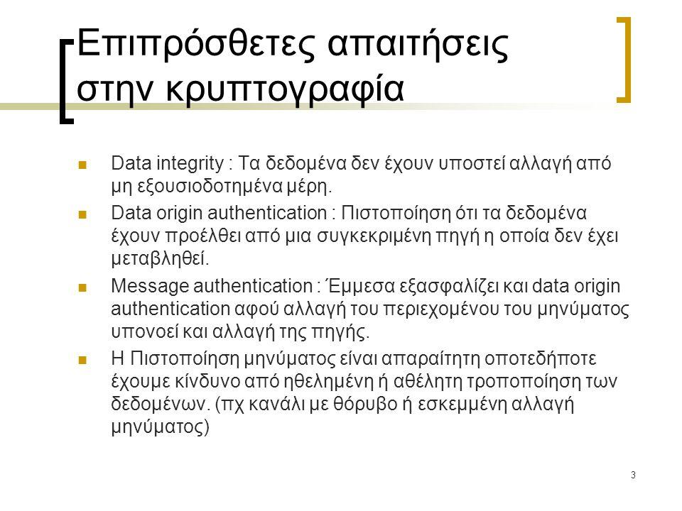 3 Επιπρόσθετες απαιτήσεις στην κρυπτογραφία Data integrity : Τα δεδομένα δεν έχουν υποστεί αλλαγή από μη εξουσιοδοτημένα μέρη. Data origin authenticat